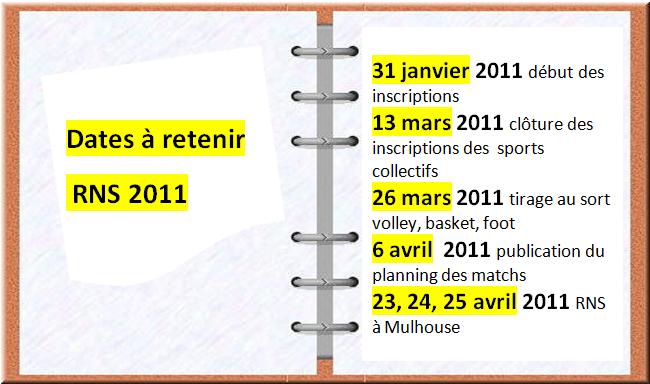Dates à retenir our 2011