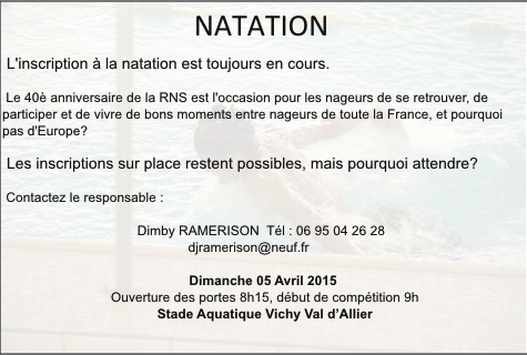 Relance inscription natation