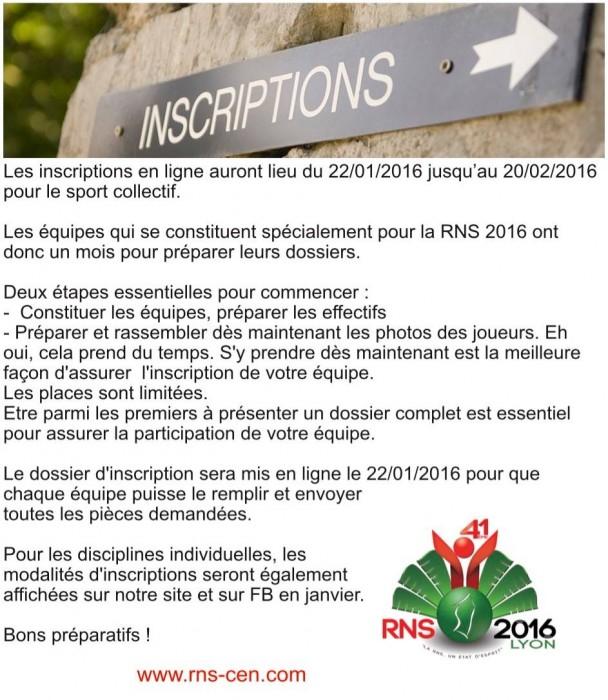 inscription RNS 2016