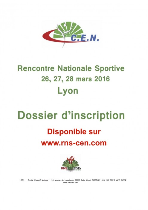 Annonce Dossier INSCRIPTION RNS 2016